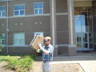Watching the eclipse through a pinhole projector