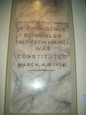 Plaque in the First Baptist Church in America